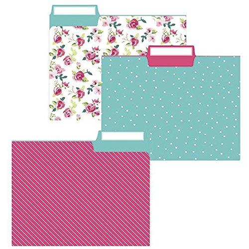 Graphique File Folder Set – File Set Includes 9 Folders and 3 Unique Polka Dot Designs, Embellished w/Gold Foil on Durable Triple-Scored Coated Cardstock, 11.75 x 9.5 (Pretty Floral)