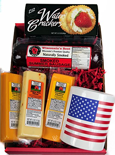 Wisconsin Cheese, Sausage & Crackers USA Gift Basket - features a USA Flag Mug, Wisconsin Cheeses, ORIGINAL Summer Sausage & Water Crackers - A Great Gift for Any Occasion! by WISCONSIN'S BEST and WISCONSIN CHEESE COMPANY