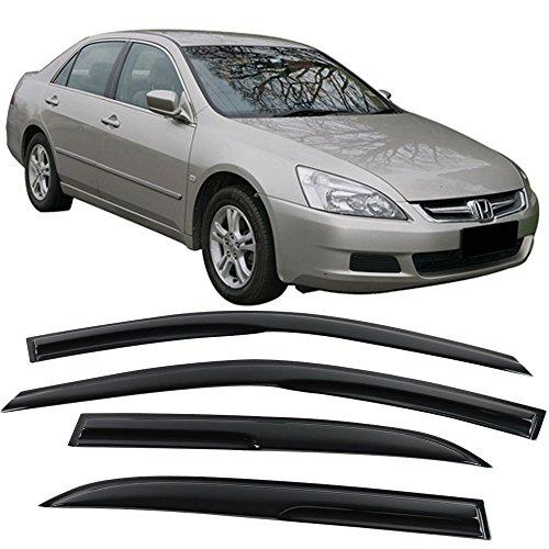 IKON MOTORSPORTS Window Visors Fits 2003-2007 Honda Accord | Smoked JDM Stick On