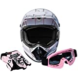 XFMT DOT Adult Dirt Bike ATV Motocross Motorcycle Helmet w/Gloves Goggles White Pink M