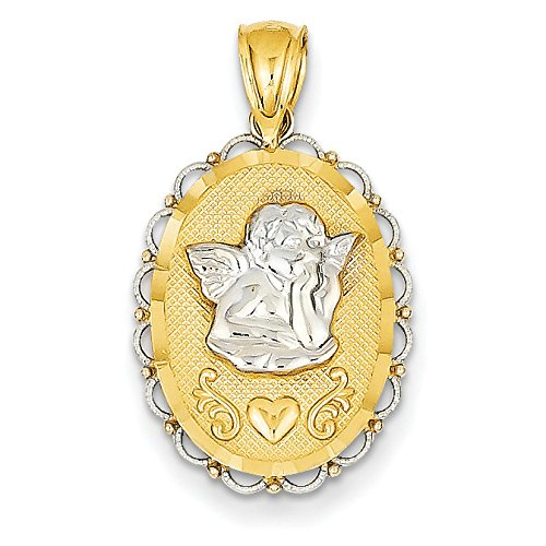 14K Two-Tone Gold Angel Oval Charm Pendant
