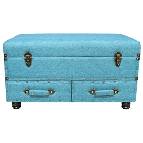 "17""H Linen Layton Storage Trunk  - Blue"