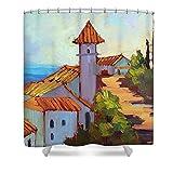 Pixels Shower Curtain (74'' x 71'') ''Mediterranean Village Costa Del Sol''