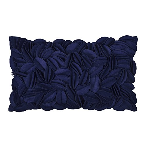 KingRose 3D Handmade Floral Decorative Accent Throw Pillow Covers Wool Artwork Cushion Sham for Sofa Couch Chair 12 x 20 Inches Navy Blue