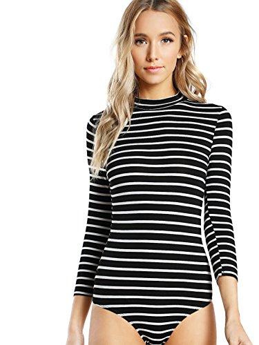 DIDK Women's Mock Neck Slim Striped 3/4 Sleeve Bodysuit Black and White M