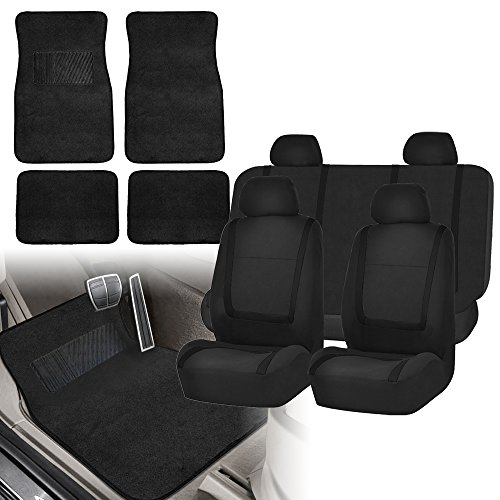 FH Group FH-FB032115 Unique Flat Cloth Seat Covers with F14407 Premium Carpet Floor Mats Solid Black- Fit Most Car, Truck, SUV, or Van