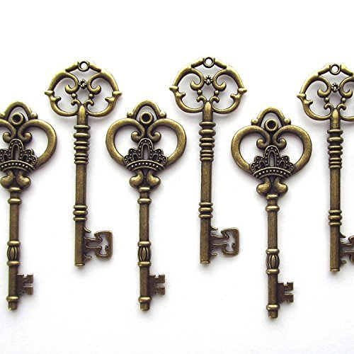 Salome Idea 20PCS Assorted Large Vintage Skeleton Keys (2 Styles) - 3 1/4