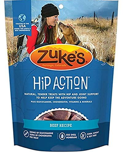 3 Packs Zuke's Hip Action with added Glucosamine and Chondroitin - BEEF (18 - Zukes Action Dog Hip Treats