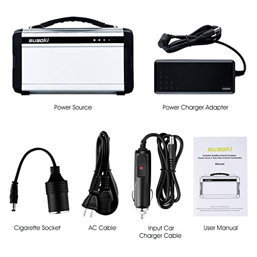 Suaoki 222Wh Portable Generator Power Source CPAP Lithium Battery Pack Power Supply with Silent 110V/60Hz, Max 200W AC Power Inverters, DC 12V & USB Ports, Charged by Solar Panel/ Wall Outlet/ Car by SUAOKI (Image #8)