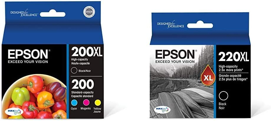 Epson T200XL-BCS DURA Ultra High Capacity Cartridge Ink Black and Color Combo Pack & T220XL120-S DURA Ultra Black High Capacity Cartridge Ink