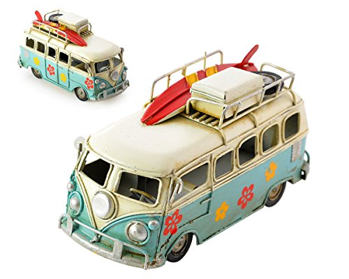 Ace Select Toy Camper Van 6.3 Inches Worn Style Retro Metal Classic VW T1 Camper Van Beach Bus Toy Model - Ideal Birthday Valentines Surprise for Boyfriend (Blue)