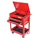 Metal Rolling Tool Cart 2 Drawer Cabinet Storage ToolBox Portable Mechanic Lock