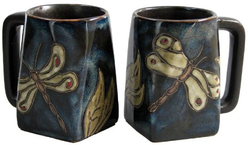 Set Of Two (2) MARA STONEWARE COLLECTION - 12 Oz Coffee or Tea Cup Collectible Square Bottom Mugs - Dragonfly/Insect Design