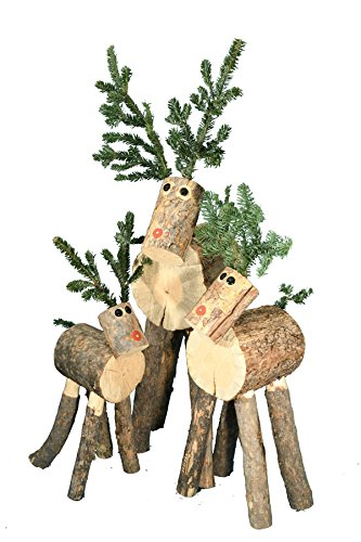Reindeer Ranch Handmade Log Reindeer Family Set of 3