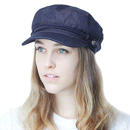 THE HAT DEPOT Black Horn Unisex Cotton Greek Fisherman's Cap (L/XL, Dk. Denim) -