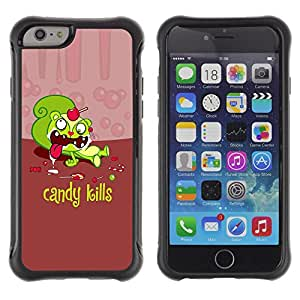 All-Round híbrido Heavy Duty de goma duro caso cubierta protectora Accesorio Generación-II BY RAYDREAMMM - Apple iPhone 6 PLUS 5.5 - Candy Sweets Kills Quote Slogan Sugar Death