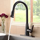 Hotis Commercial Pull Down Prep Sprayer Single Lever Single Handle Pull Down Kitchen Sink Faucet,Lead-Free Oil Rubbed Bronze Kitchen Faucets with Deck Plate