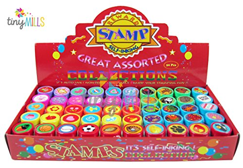 Tiny Mills 50 Pcs Assorted Stampers for Kids - Birthday Party Favors ()