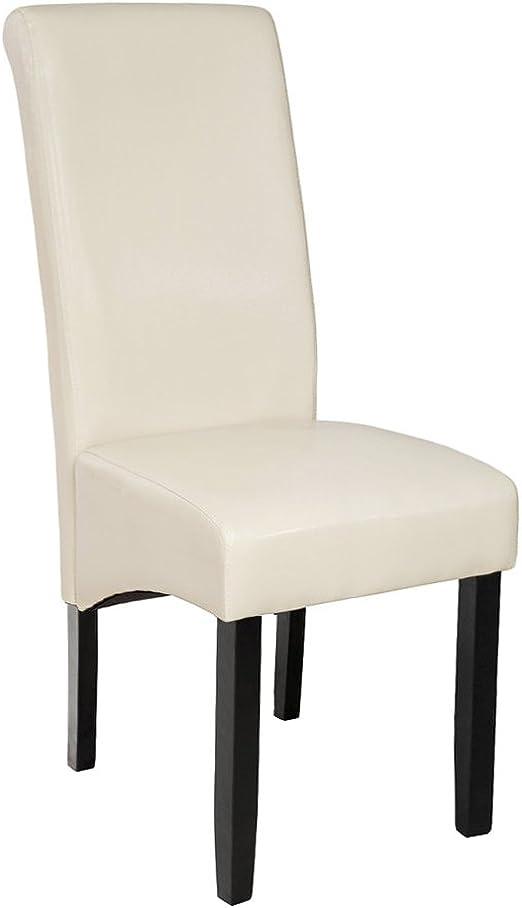 TecTake Edler Esszimmerstuhl aus Kunstleder | Stuhl mit hoher Rückenlehne | qualitativ hochwertig | Stuhlbeine aus Hartholz massiv | 106 cm hoch
