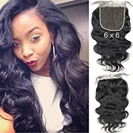 BLUPLE 6×6 Boby Wave Lace Closure Natural Color Unprocessed Brazilian Virgin Human Hair Lace Pieces With Baby Hair Free Part