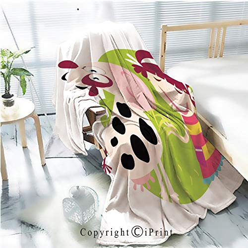Printed Flannel Sherpa Back Blanket,Farm Girl with Small Cow Rustic Home Decor Decorative,One Side Printing,W47.2 xH59.1