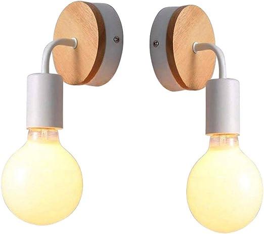 XMAGG Lampara Moderno del Pared E27 LED Apliques de Pared Focos Iluminacion Wood para Cafeteria Bar Casa Dormitorio Escalera Pasillo Restaurante Cocina Sin Bombilla,2PCS: Amazon.es: Hogar