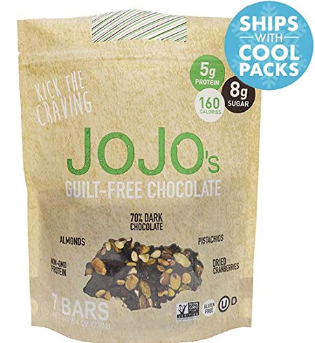 - JOJO's Guilt Free Dark Chocolate Low Sugar, Low Carb, Added Protein, Pistachios, Almonds, and Dried Cranberries, 8.4oz Bag With 7 Bars, One Week Supply