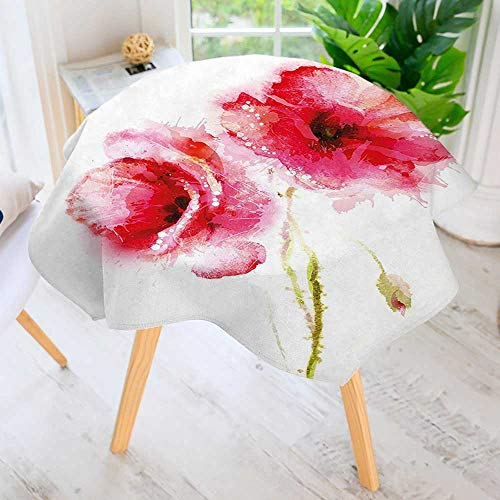 UHOO2018 Circular Solid Polyester Tablecloth-Red Spring Summer Time Garden Florals Field Poppy Artwork Hot Pink Light Pink for Wedding Restaurant Buffet Table Decoration 59