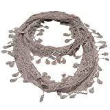 Girls Grey Solid Color Lace Edges Crochet Leafy Accents Circular Scarf