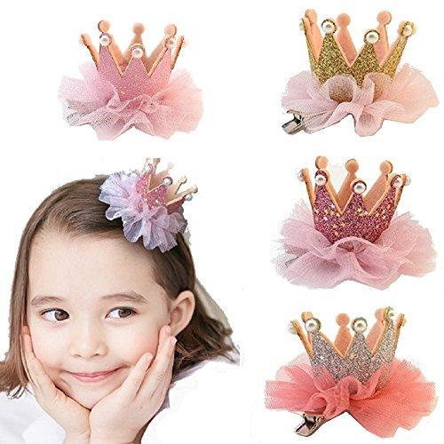 [tre JP]Mini Glitter Crown Hairpin Girl Baby Headwear Hair Accessories Party Birthday (gold) -  macaroni, macaroni