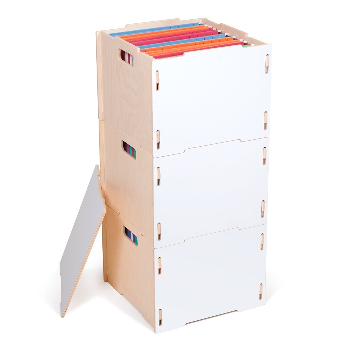 Three Modern White Wooden Hanging File Boxes, American Made - By Sprout