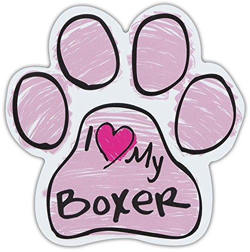 (Pink Scribble Paws: I LOVE MY BOXER | Dog Paw Shaped Car Magnets)