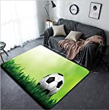 Vanfan Design Home Decorative a soccer football on a fresh green background Modern Non-Slip Doormats Carpet for Living Dining Room Bedroom Hallway Office Easy Clean Footcloth