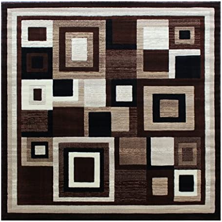 Masada Rugs Modern Contemporary Square Area Rug Design Americana 125 Brown 5 Feet 2 Inch x 5 Feet 2 Inch Square