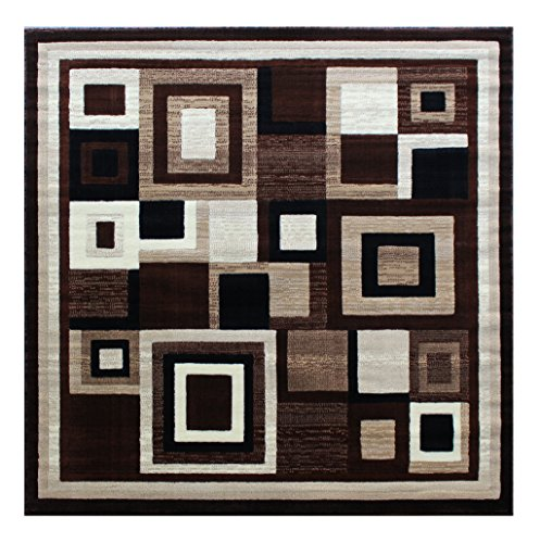 ontemporary Square Area Rug Design Americana 125 Brown (4 Feet x 4 Feet) Square ()