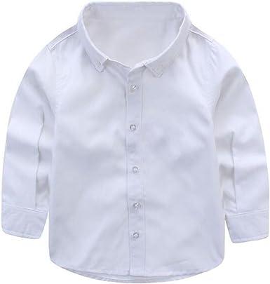 ZGJQ Bebé Niños Niño Niños del Resorte Camisa Blanca Blusa Y Camisa Blanca Grande Muchacho Muchachos De Algodón De Manga Larga Otoño, White-140cm: Amazon.es: Ropa y accesorios