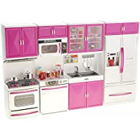 PowerTRC My Modern Kitchen 32 Full Deluxe Kit Battery Operated Toy Doll Kitchen Playset w/ Lights, Sounds, Perfect for…