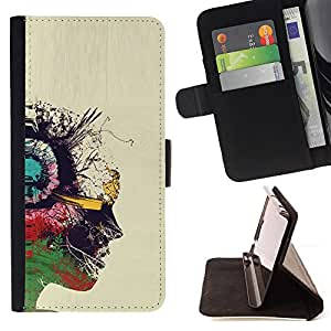 Jordan Colourful Shop - portrait oil profile colorful art painting For LG Nexus 5 D820 D821 - < Leather Case Absorci????n cubierta de la caja de alto impacto > -