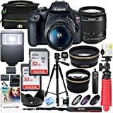Canon EOS Rebel T7 DSLR Camera with EF-S 18-55mm f/3.5-5.6 is II Lens and Two (2) 32GB SDHC Memory Cards Plus Double Battery Tripod Cleaning Kit Accessory Bundle