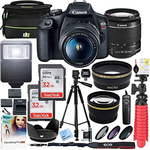 Ion Camera Canon Lithium Digital - Canon EOS Rebel T7 DSLR Camera with EF-S 18-55mm f/3.5-5.6 is II Lens and Two (2) 32GB SDHC Memory Cards Plus Double Battery Tripod Cleaning Kit Accessory Bundle