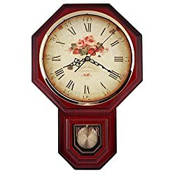 JUSTIME Vintage Rose Classic Traditional Schoolhouse Pendulum Wall Clock Chimes Every Hour with Westminster Melody Made in Taiwan, 4AA Batteries Included (PP0258-1F Red Mahogany)