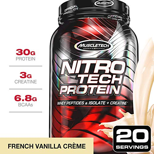MuscleTech NitroTech Protein Powder Plus Muscle Builder, 100% Whey Protein with Whey Isolate, Vanilla, 20 Servings (2lbs)