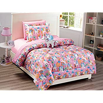 Super Soft, Cute, Fun and Whimsical Mainstays Kids Rainbow Unicorn With Images of Unicorns. Butterflies and Rainbows Girls Bed in a Bag Complete Bedding Set, Pink, Twin