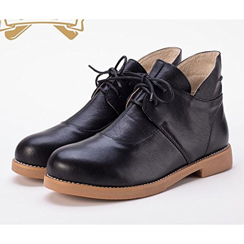Round Boots Shoes Winter Low Casual Heel ZHZNVX Walking Cowhide Ankle Tie Black Toe Boots Ribbon Fall Comfort For Booties HSXZ Fashion Boots Women's Shoes 44wq76IxPz