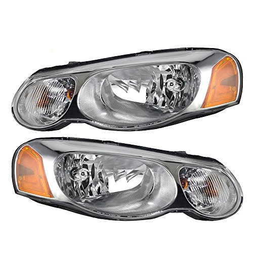 Pair Set Halgoen Combination Headlights Headlamps Replacement for Chrysler Sebring Sedan Convertible 4806037AB (Chrysler Sebring Convertible Auto)