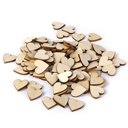 (OULII Blank Heart Wood Slices Discs Wedding Christmas Ornaments, Pack of 50, 40mm)
