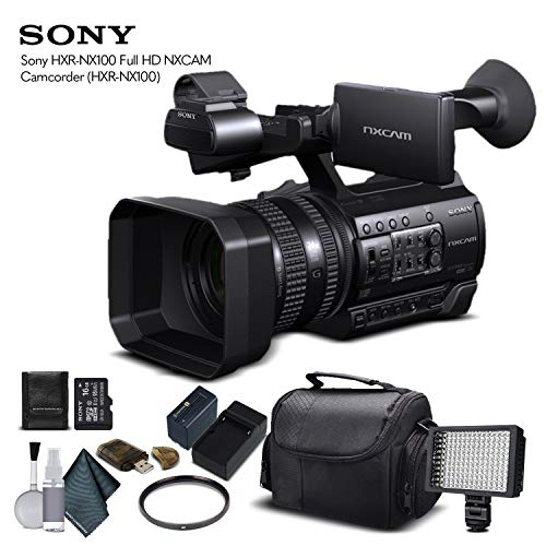 Sony HXR-NX100 Full HD NXCAM Camcorder (HXR-NX100) with 16GB Memory Card, Extra Battery and Charger, UV Filter, LED Light, Case and More. - Starter Bundle