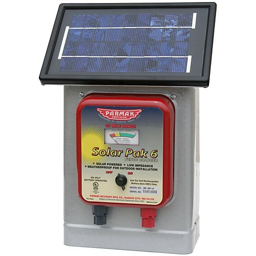 - Parmak DF-SP-LI Solar Pak 6 Low Impedance 6-Volt Battery-Operated 25-Mile-Range Electric Fence Charger