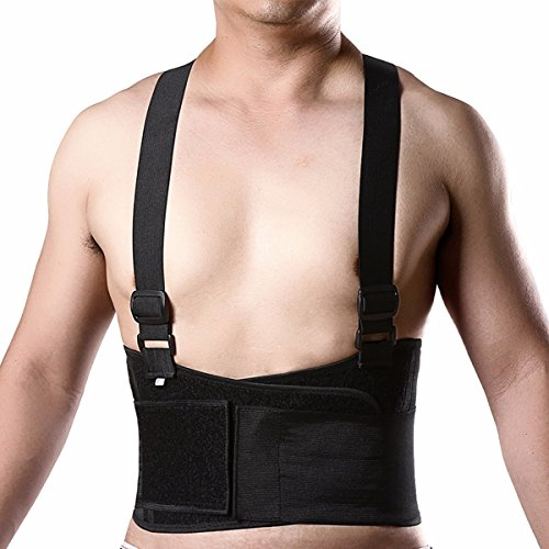 cross1946 Heavy-Duty Elastic Lower Back Lumbar Support Breathable Belt Brace With Detachable Suspenders Stabilizing M