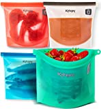 Reusable Silicone Food Bag 4-Pack - More Convenient and Cost Effective Than Plastic Bags - Hygienic and Leakproof Storage - Versatile and Safe To Use in Dishwasher, Microwave and Freezer - Quart Size